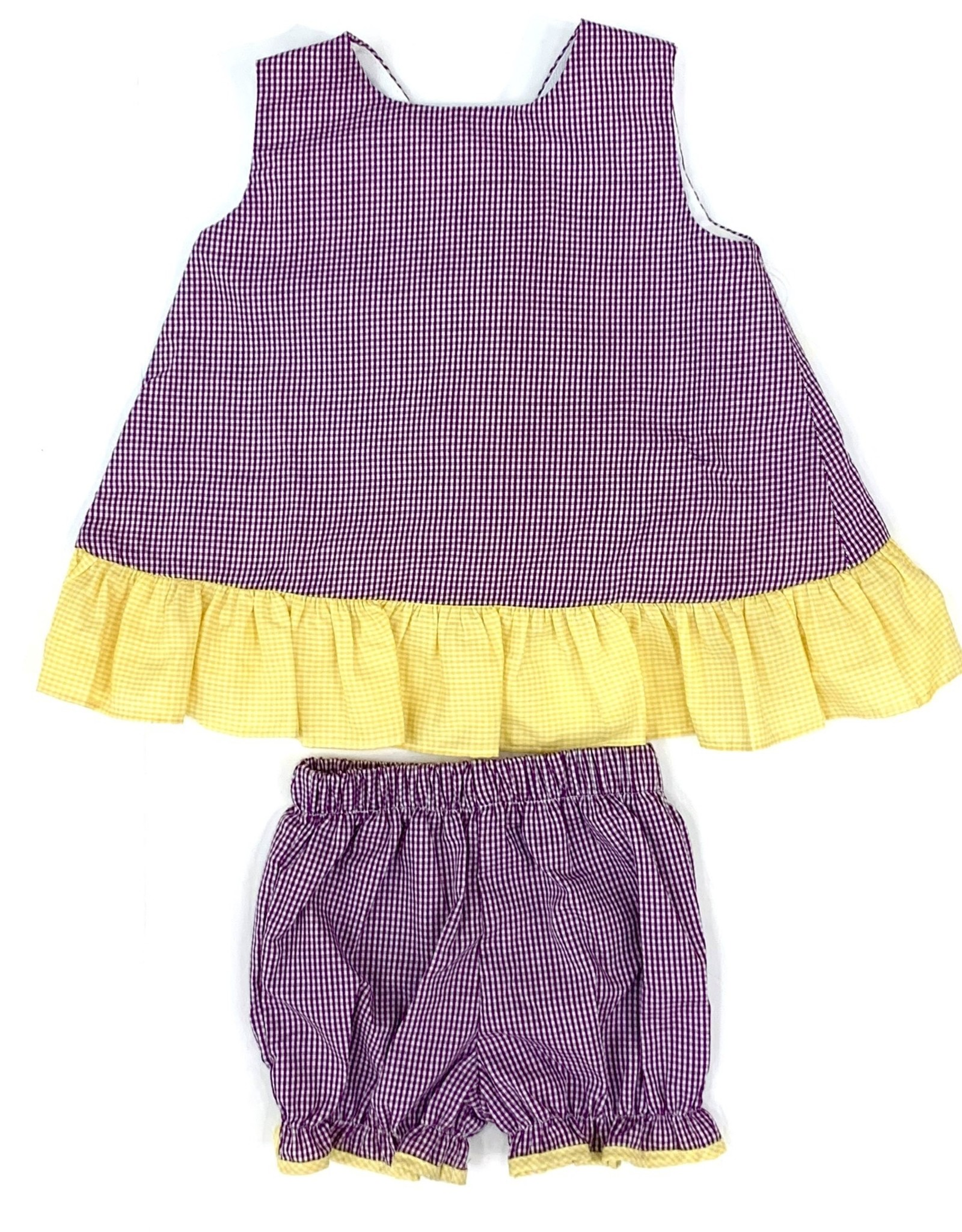 Lulu Bebe LLC Purple Gingham Bloomer Set With Bow Back