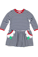 Florence Eiseman Stripe Knit Dress With Flower Pockets