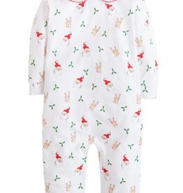 Little English Santa And Reindeer Printed Playsuit