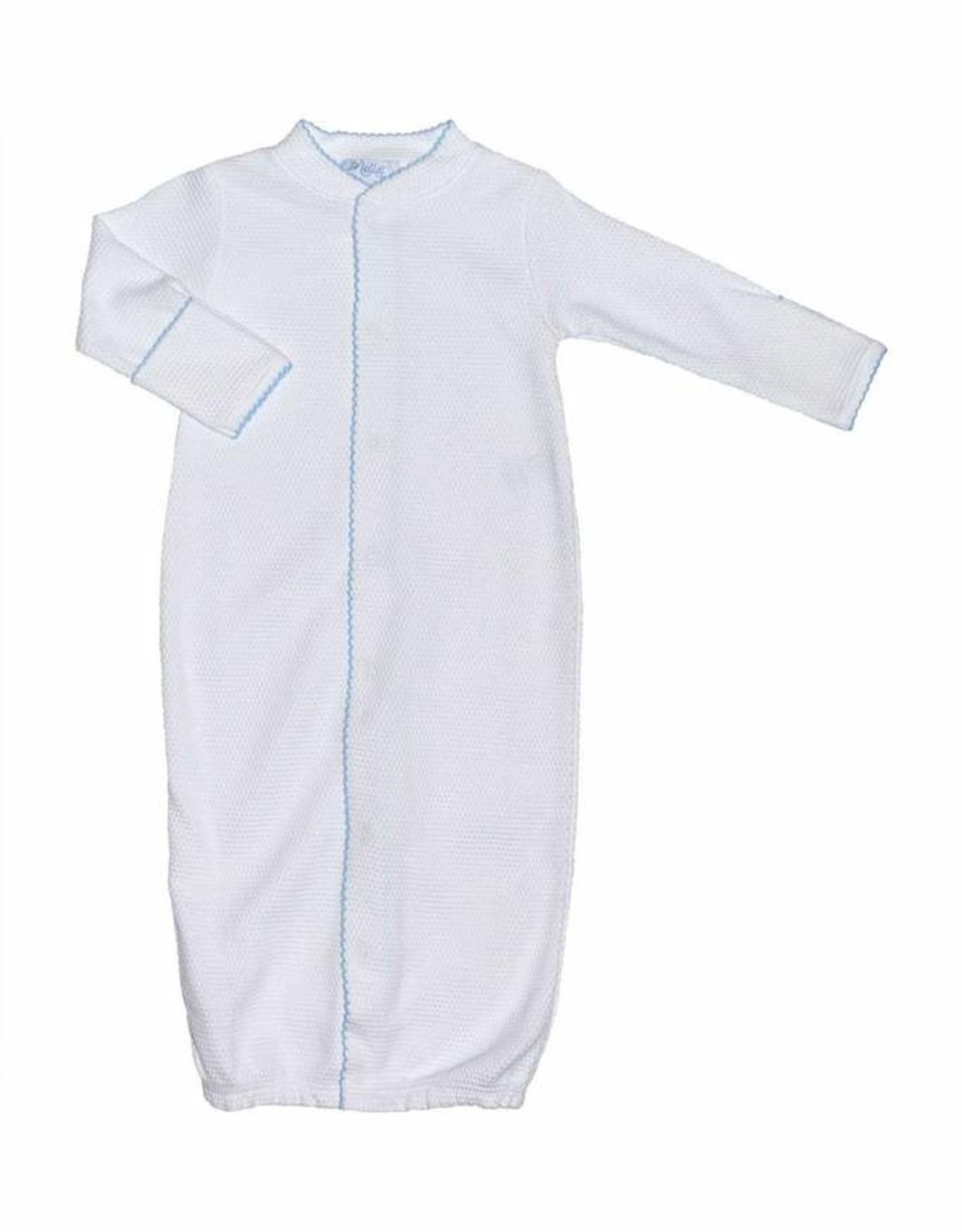 Nella White Converter Gown With Blue Picot Trim