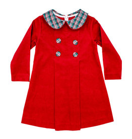 The Bailey Boys Holly Plaid Red Cord Button Dress