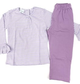 Squiggles Purple And White Stripe Legging Set