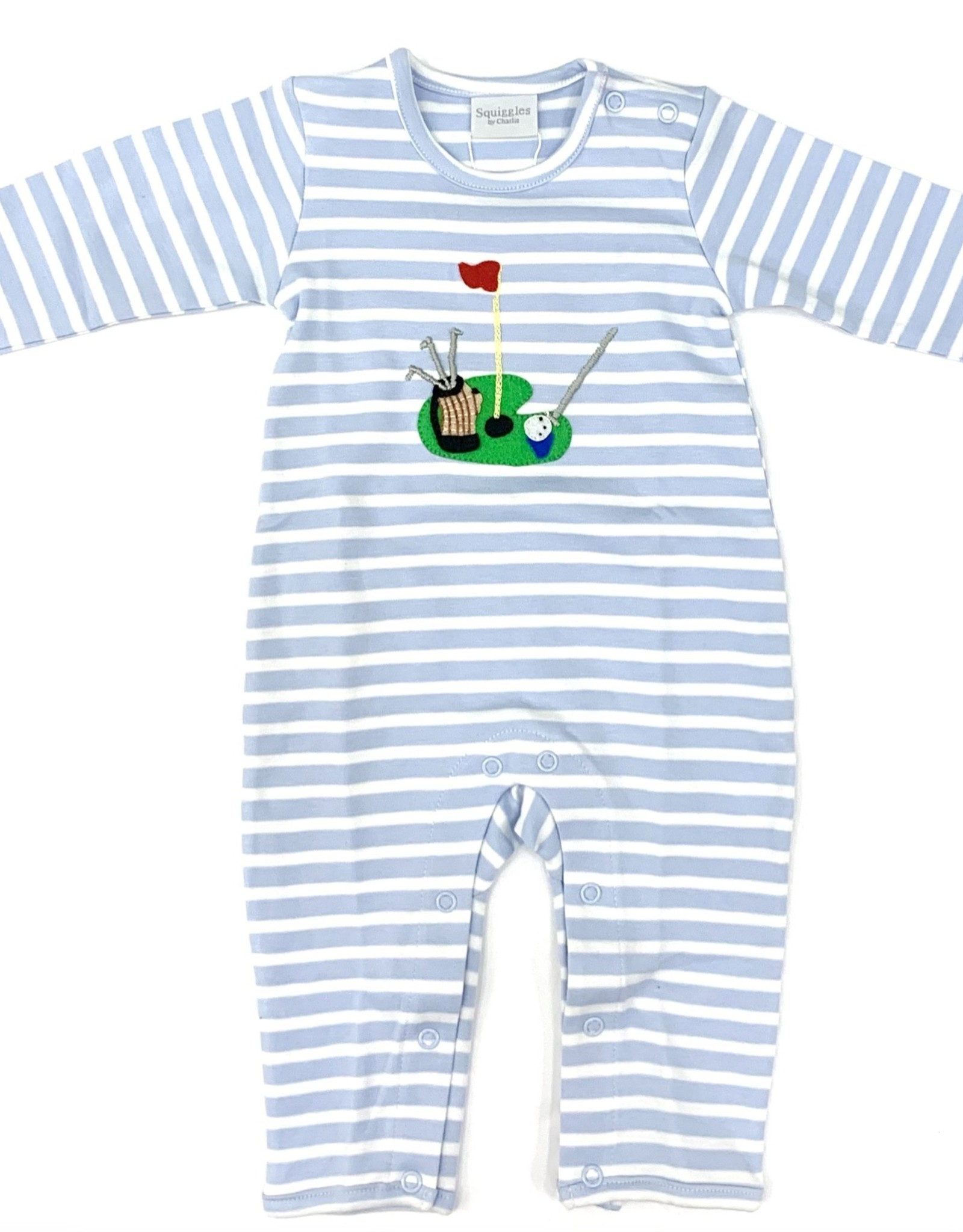 Squiggles Light Blue And White Stripe Golf Coverall