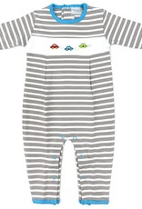 Squiggles Gray And White Stripe Coverall With Race Cars