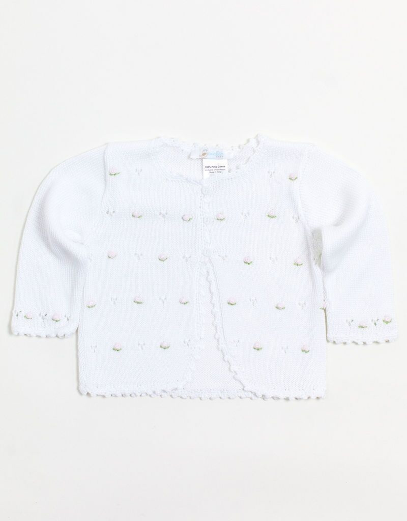 Cuclie Baby White Full Flowers Cardigan