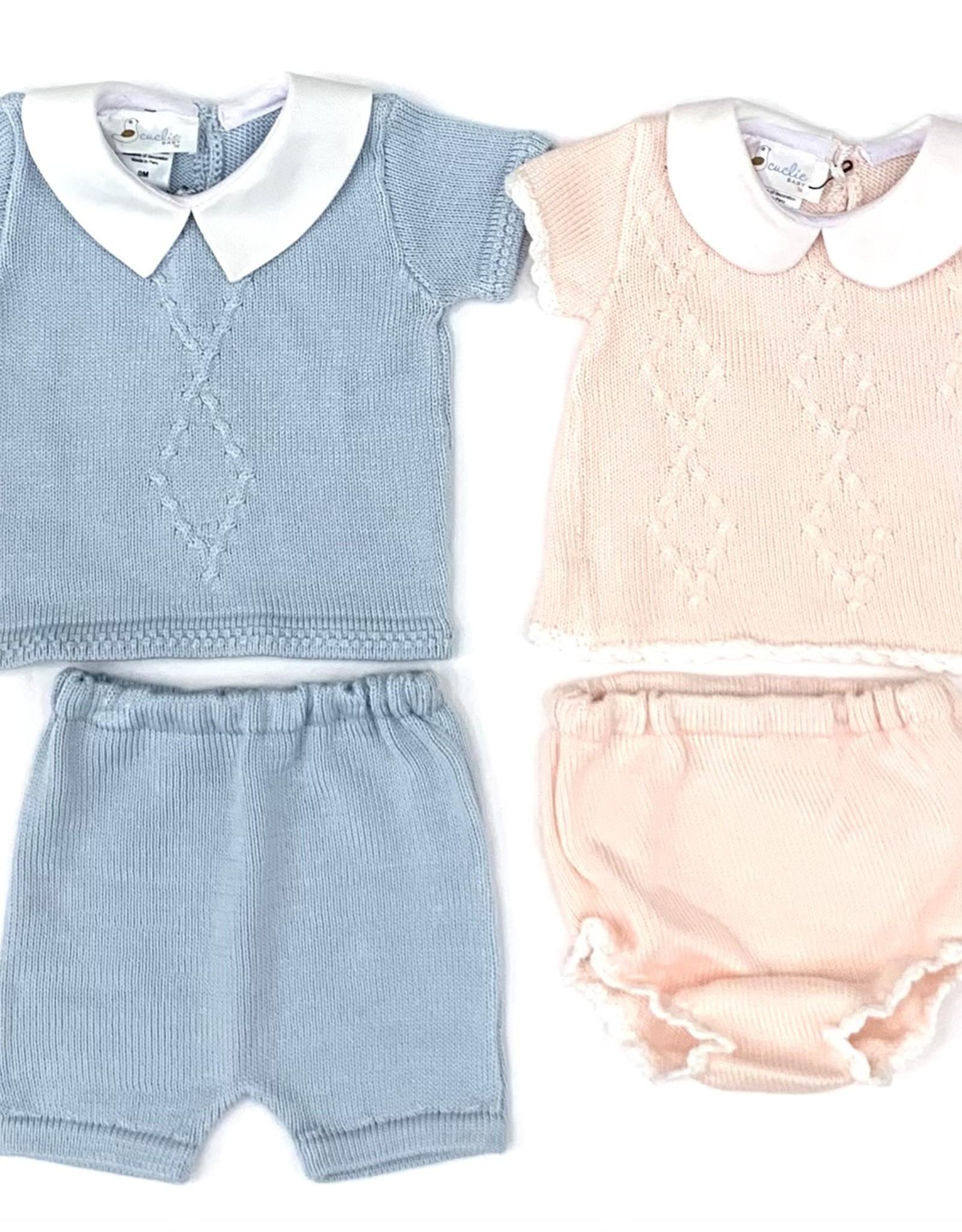 Light Blue Argyle Diaper Set
