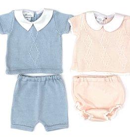 Cuclie Baby Light Blue Argyle Diaper Set