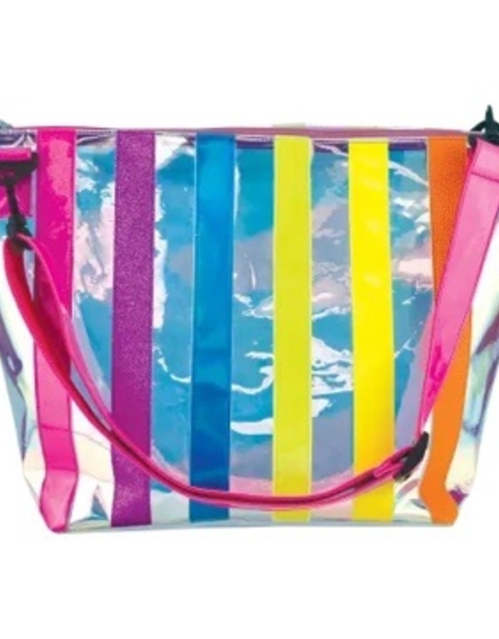 Iscream Iridescent Striped Clear Overnight Bag