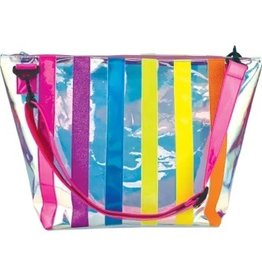 Iscream Iridescent Striped Clear Overnight Bag