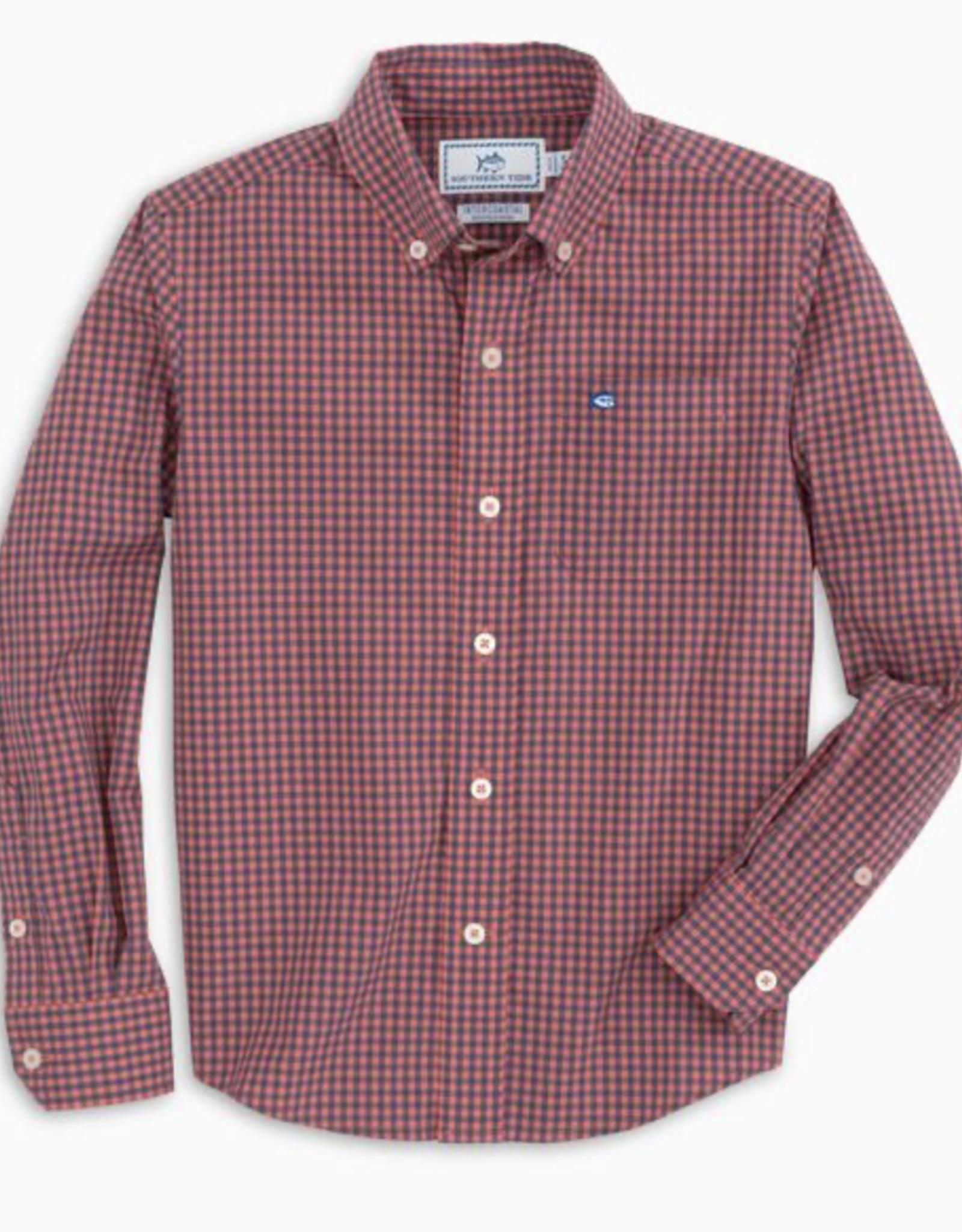 Southern Tide Coral Blush Cotton Stretch Check Sportshirt