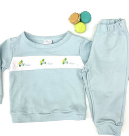 LullabySet Light Blue Knit With Airplane Sweatsuit