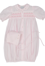 Feltman Brothers Pink Ribbon Smocked Gown