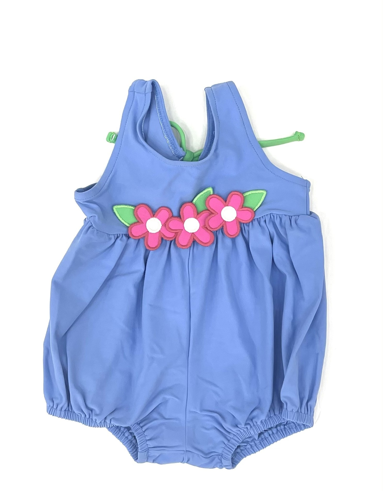 Florence Eiseman Blue Bubble Swimsuit With Flowers