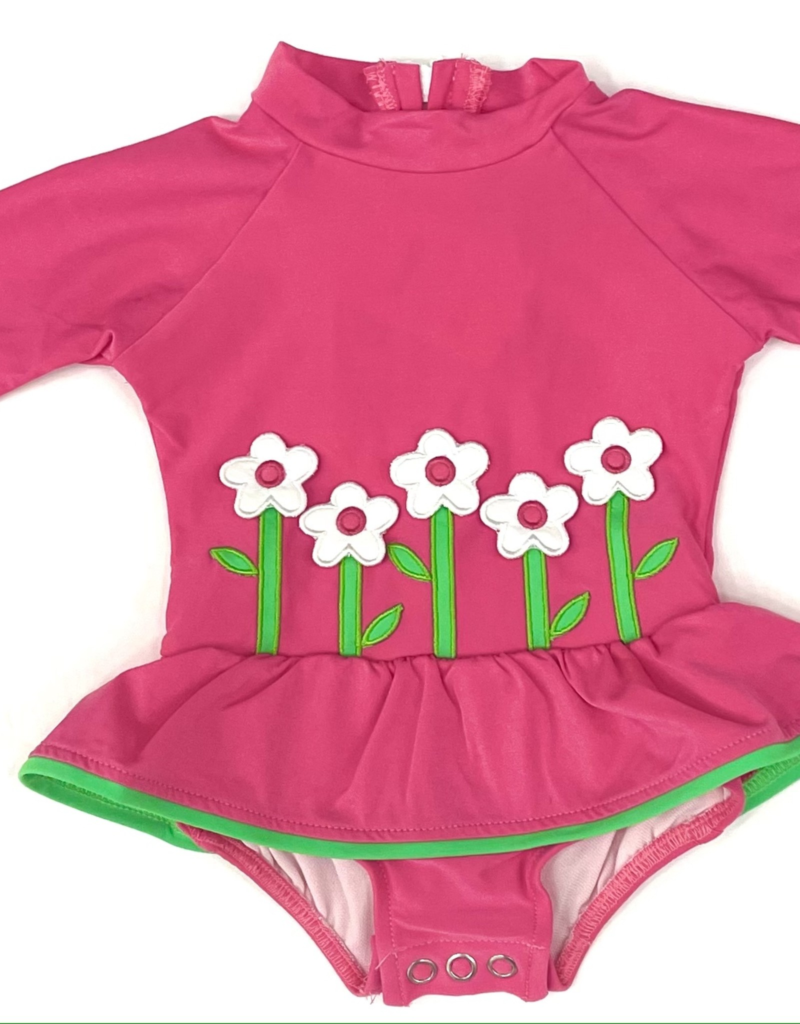 Florence Eiseman Rash Guard Onesie With Flowers
