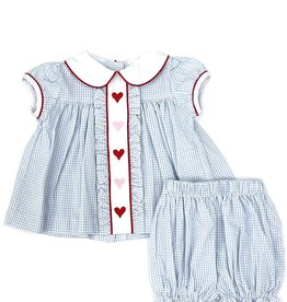 Little English Hearts Ruffled Sally Bloomer Set