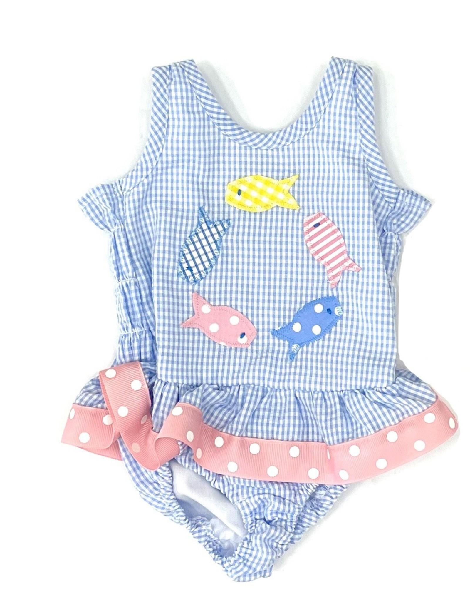 Funtasia Too Blue Fish One Piece Swim Suit