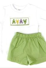 Lulu Bebe LLC Lime Green Crawfish Smocked Shortset