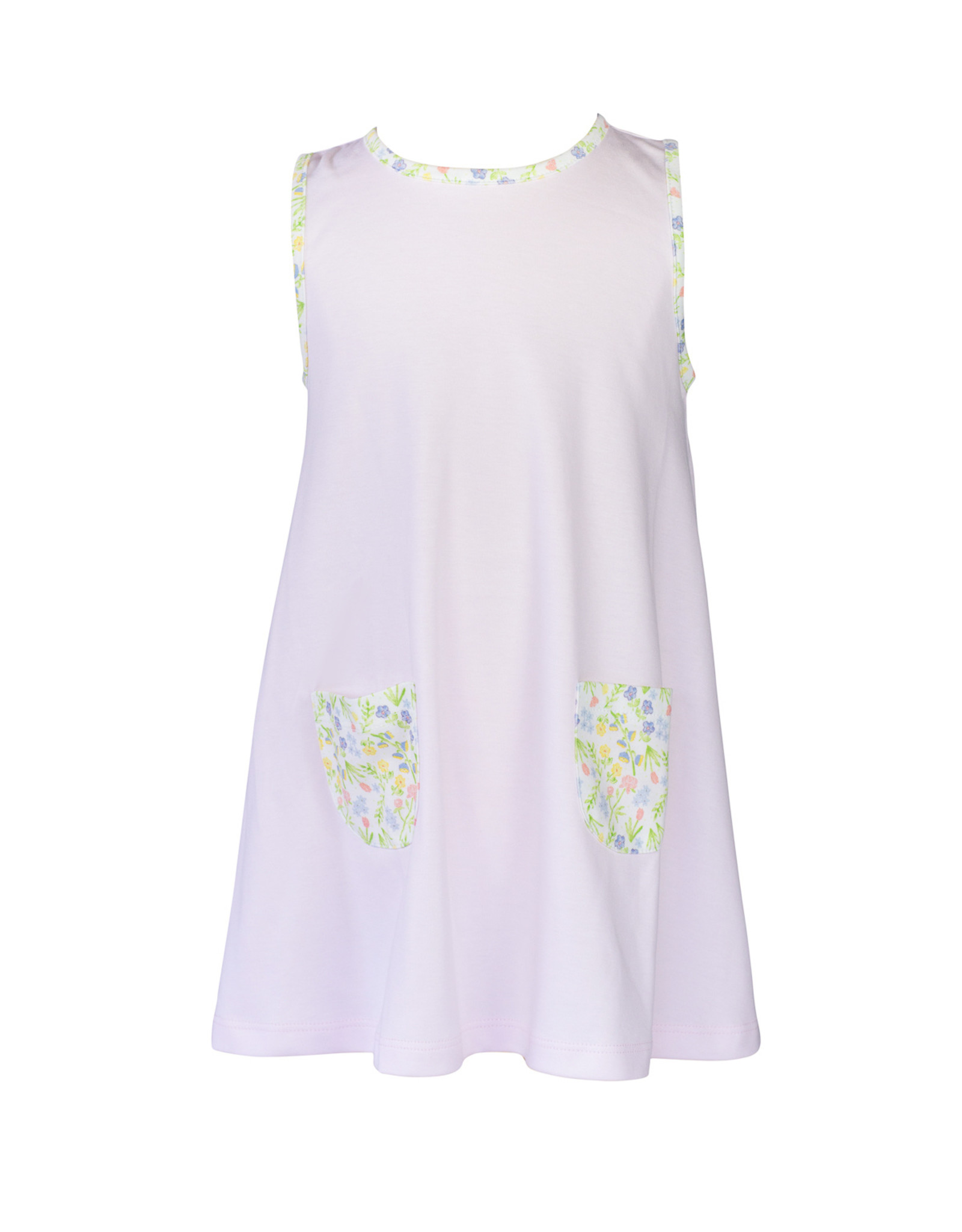 The Proper Peony Garden Floral Girl A-line Dress with No Collar