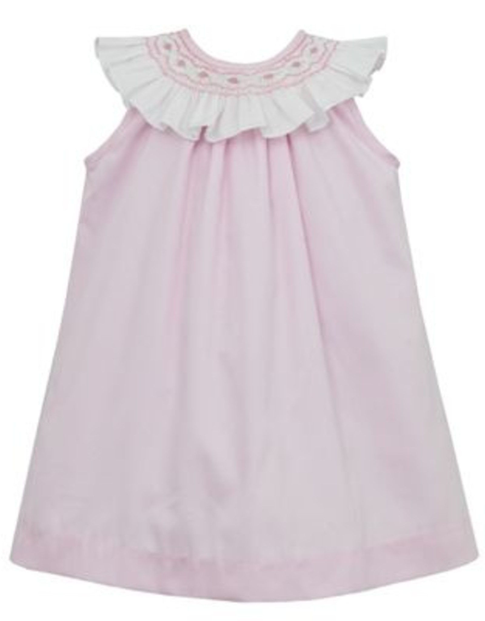 Anavini Pink Emma A-line Dress With Smocked Collar