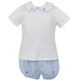 Anavini Blue Seersucker Bunnies Diaper Set