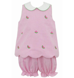 Anavini Pink Seersucker Watermelon Scallop Bloomer Set
