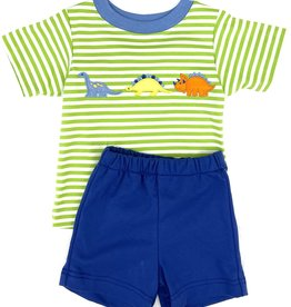 Claire and Charlie Dinosaur Green Stripe Short Set