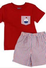 Claire and Charlie Red And Blue Stripe Short Set