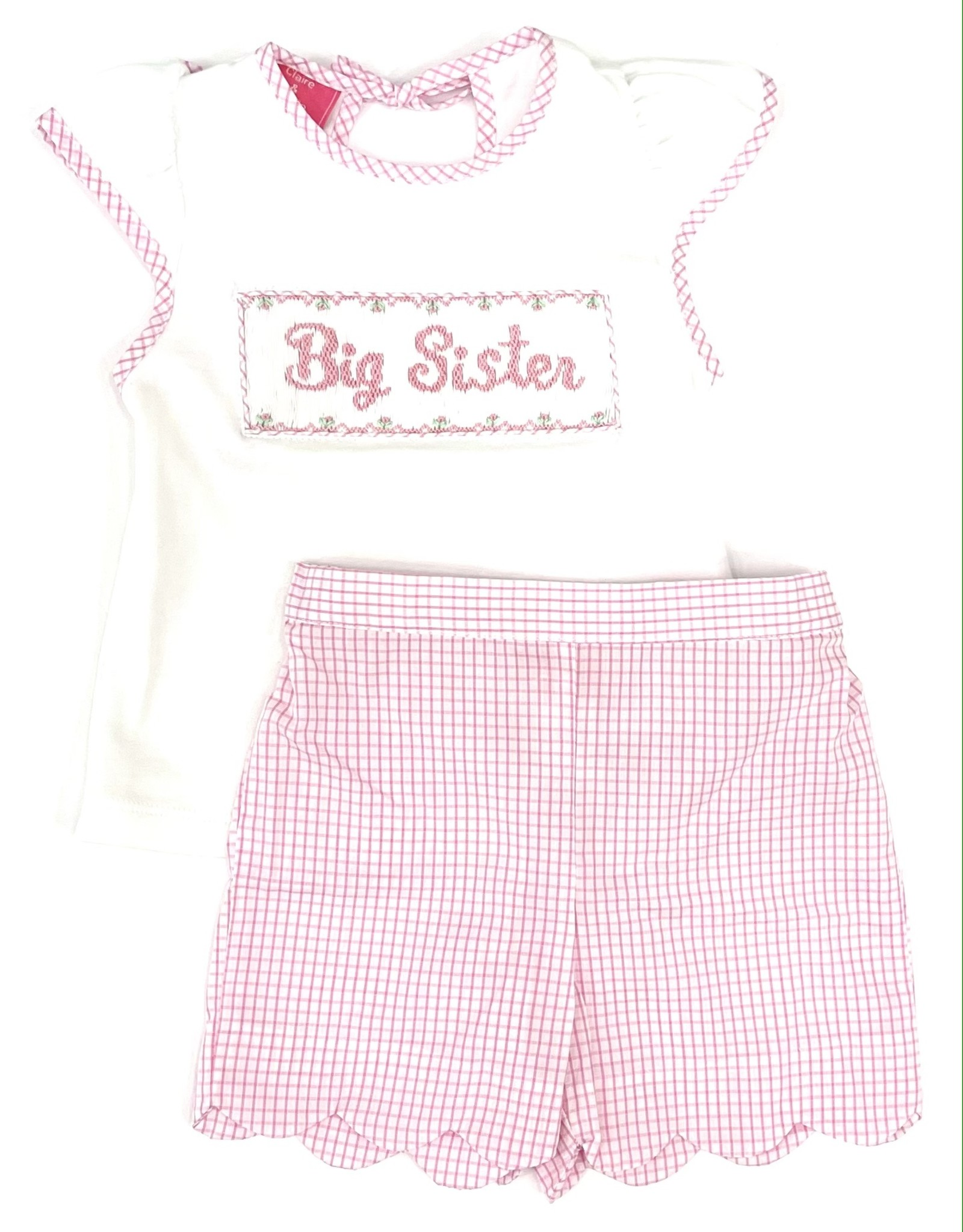 Claire and Charlie Big Sister Pink Mini Check Short Set