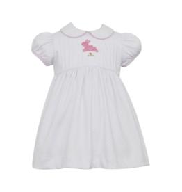 Petit Bebe White With Blue Dress Hop Hop Dress