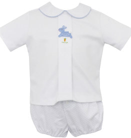 Petit Bebe White And Blue Knit Hop Hop Diaper Set