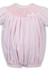 Sarah Louise Pink Smocked Bubble With Lace