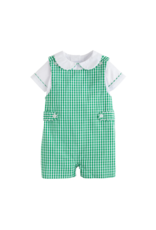 Little English Augusta  Green Gingham Button Tab John John