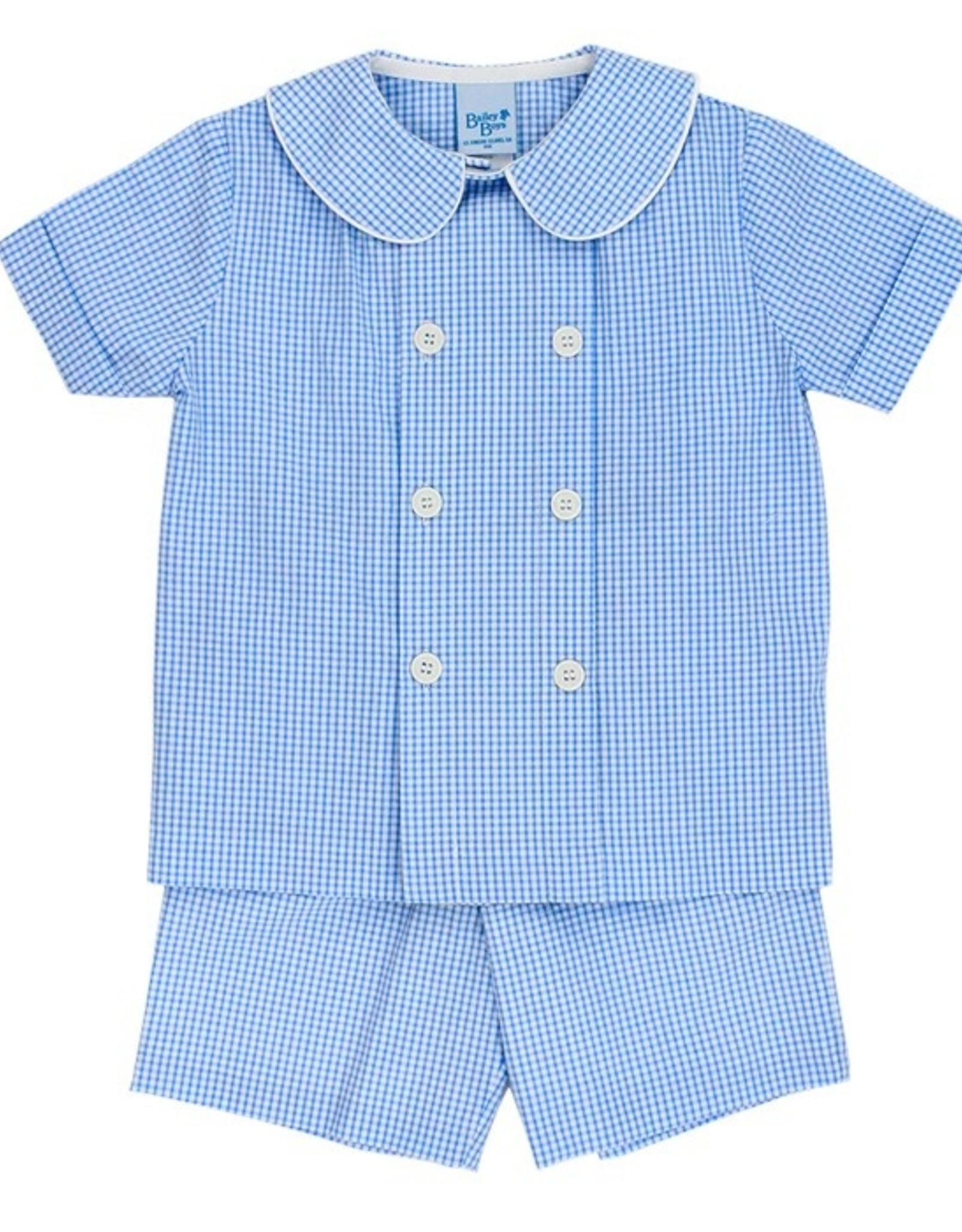 The Bailey Boys Blue Check Seersucker Dressy Short Set