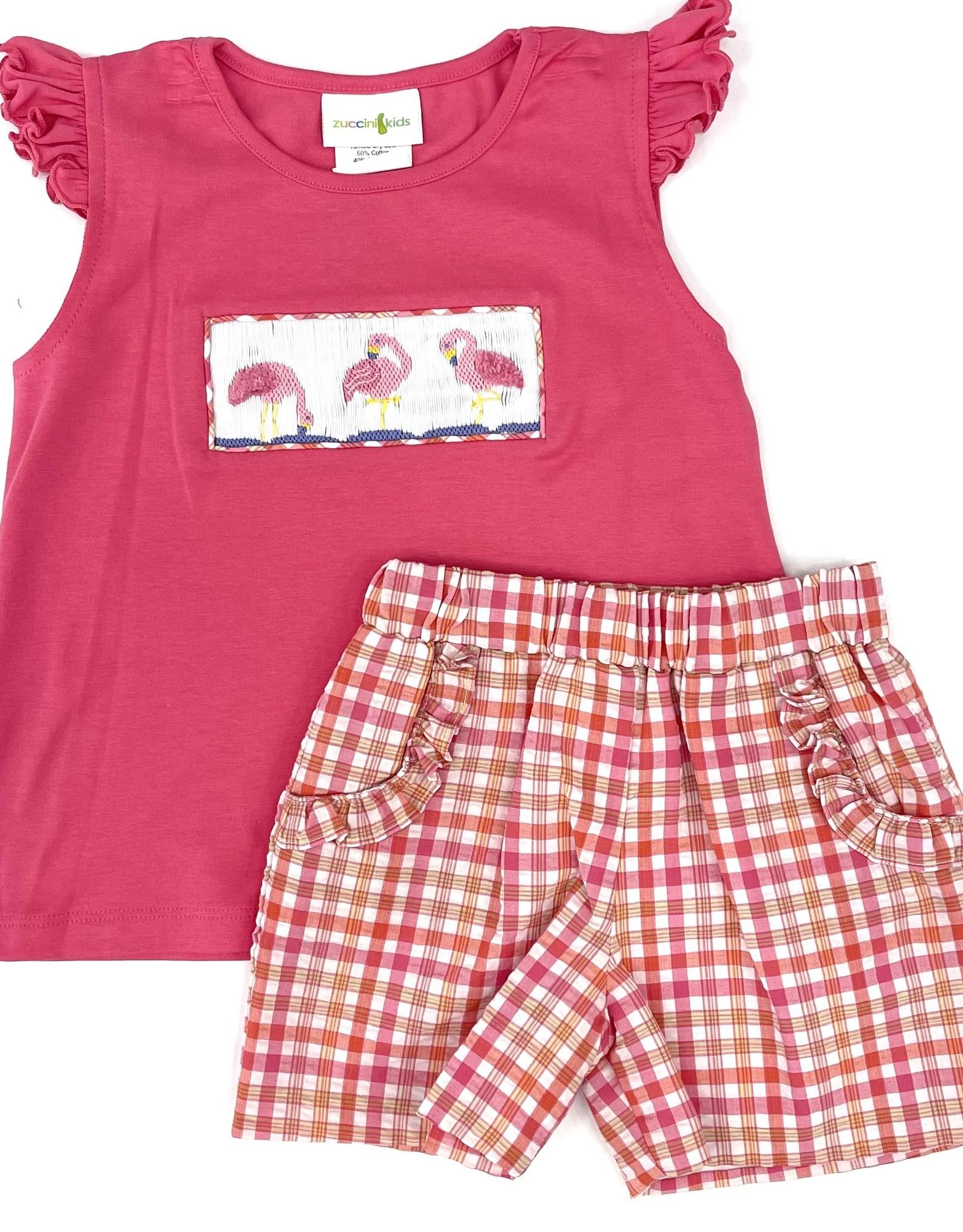 Zuccini Flamingo Knit Raffie Short Set