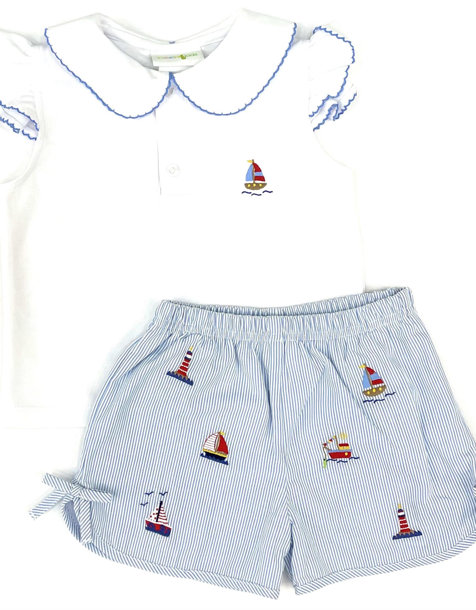 Zuccini Girl Knit Sailboat Short Set