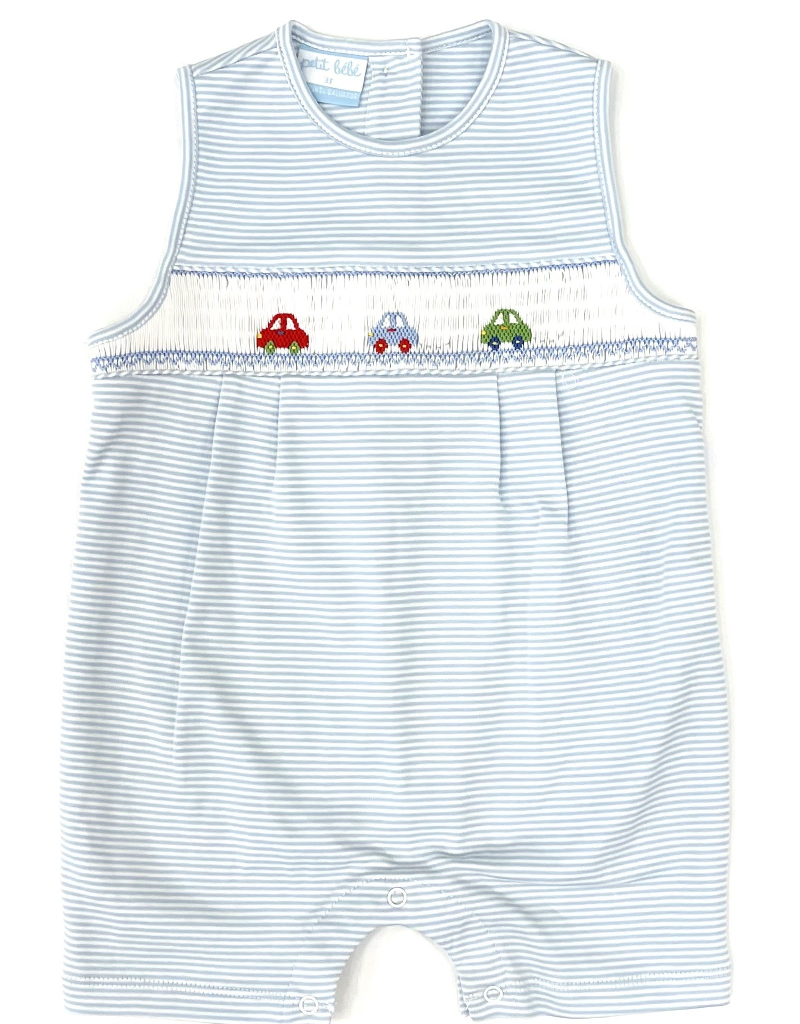 Petit Bebe Light Blue Cars Stripe Knit Jon Jon