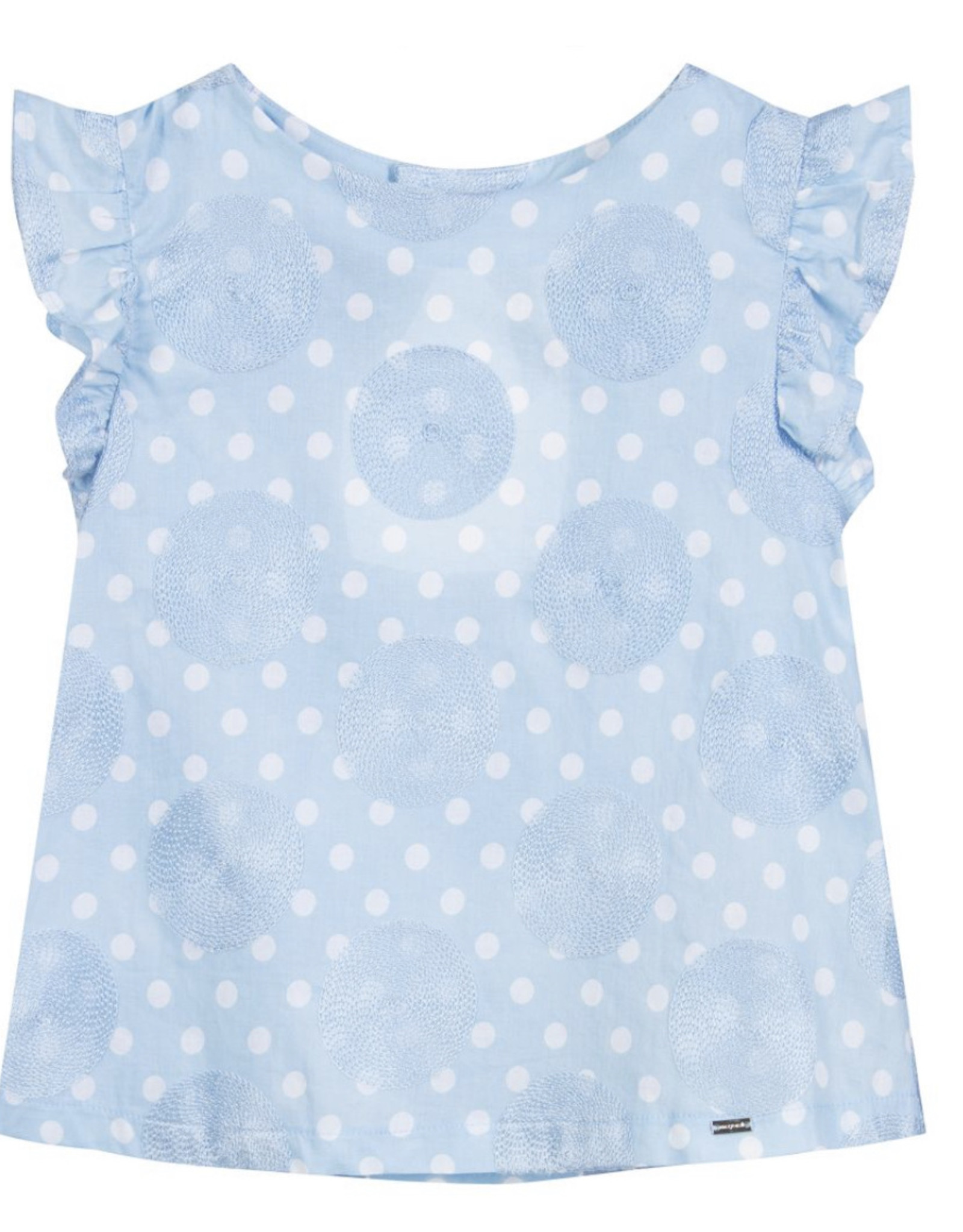 Mayoral Blue Embriodered Dots Blouse