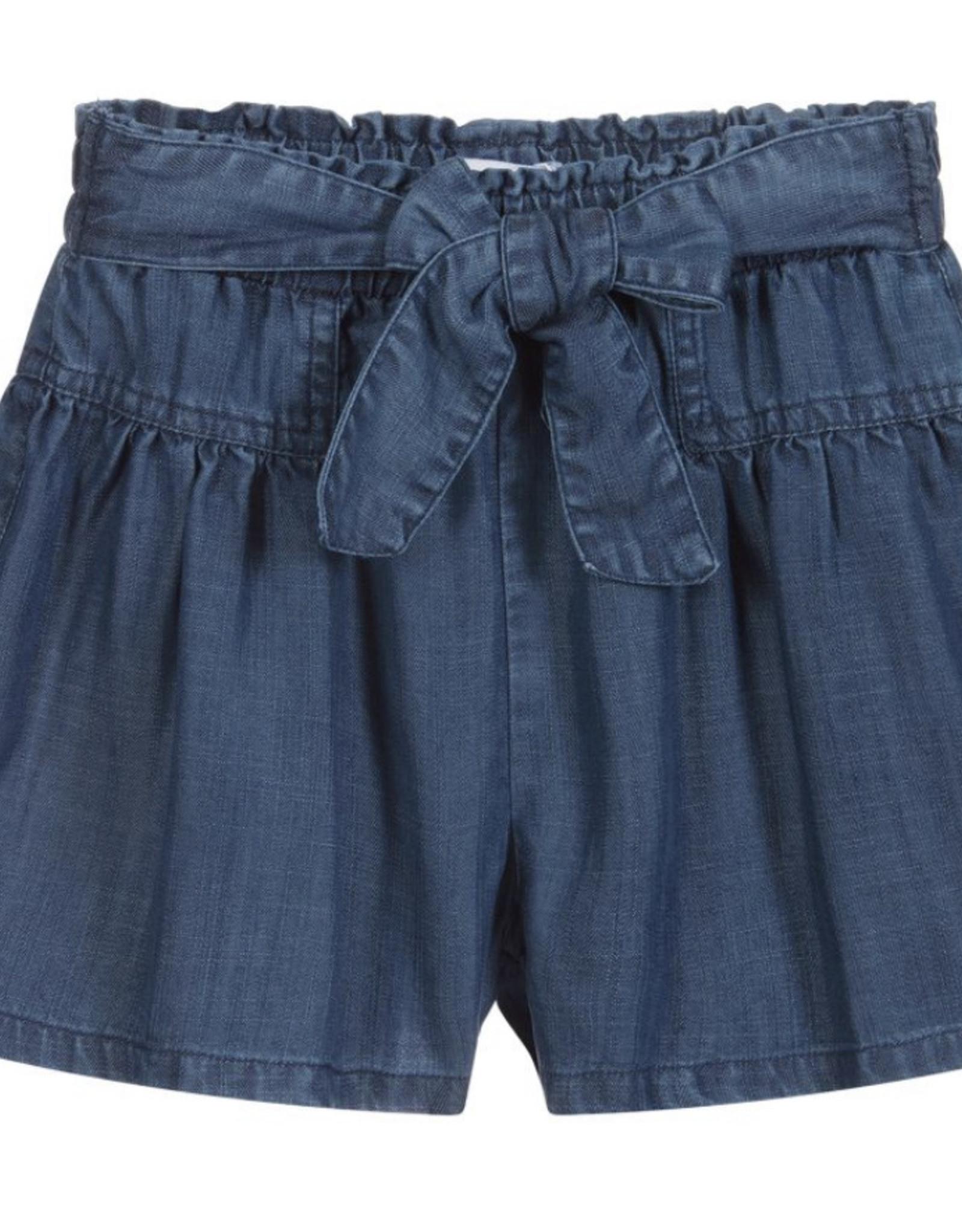 Mayoral Denim Elastic Waist Tie Shorts