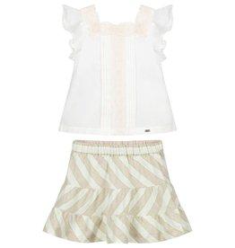 Mayoral Striped Linen Skirt Set