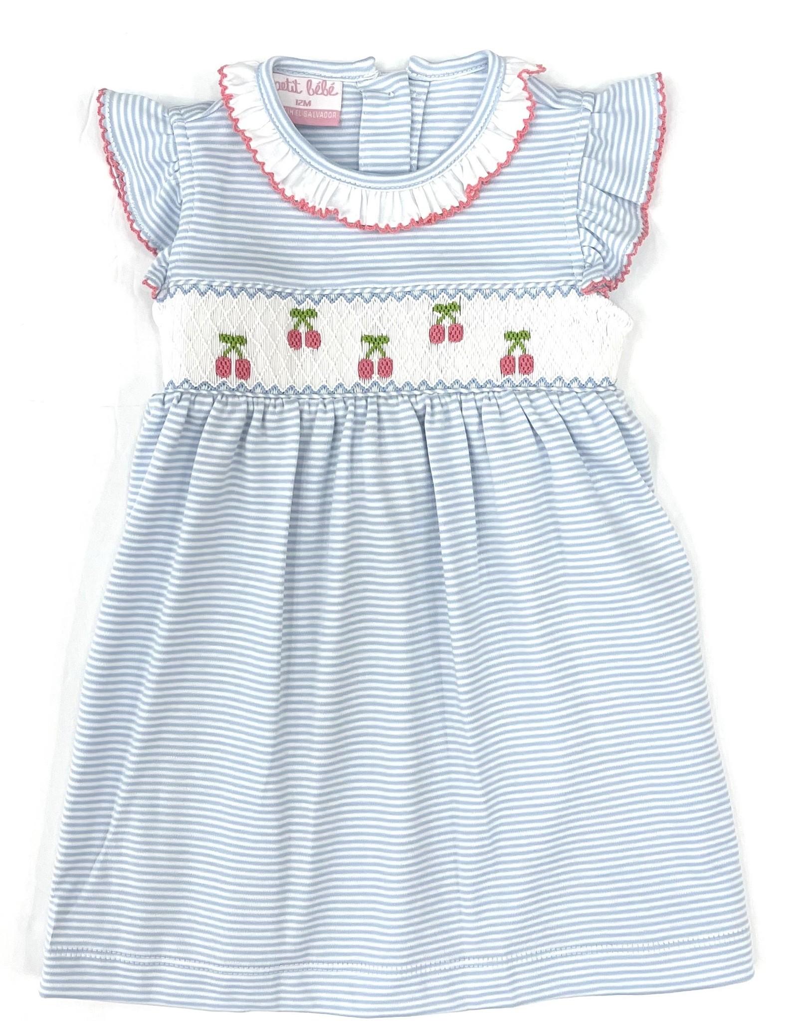 Petit Bebe Light Blue Cherries Ruffle Collar Dress