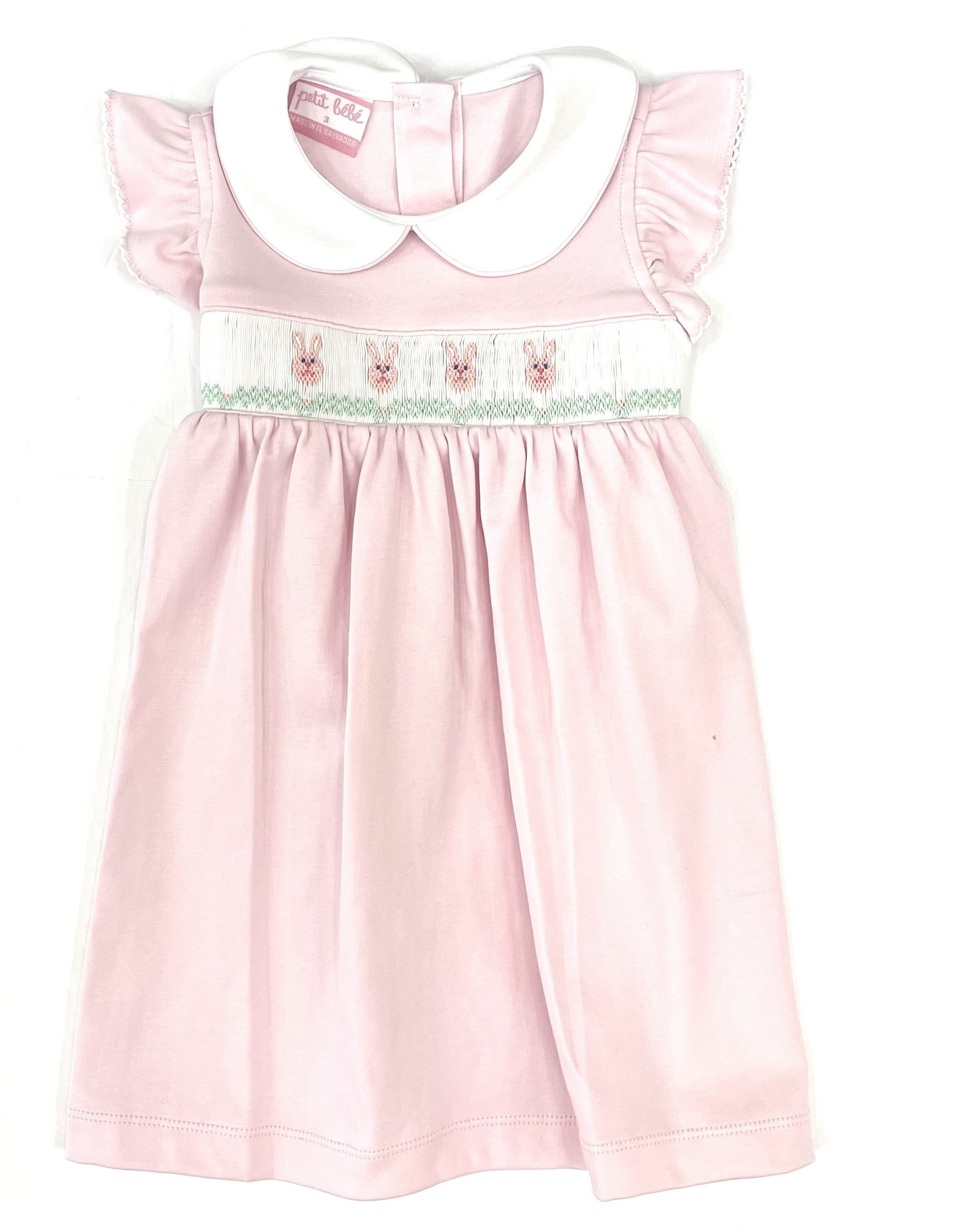 Petit Bebe Bunny Faces Light Pink Dress
