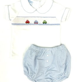 Petit Bebe Light Blue Stripe Cars Diaper Set