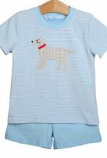 Trotter Street Kids Blue Dog Short Set