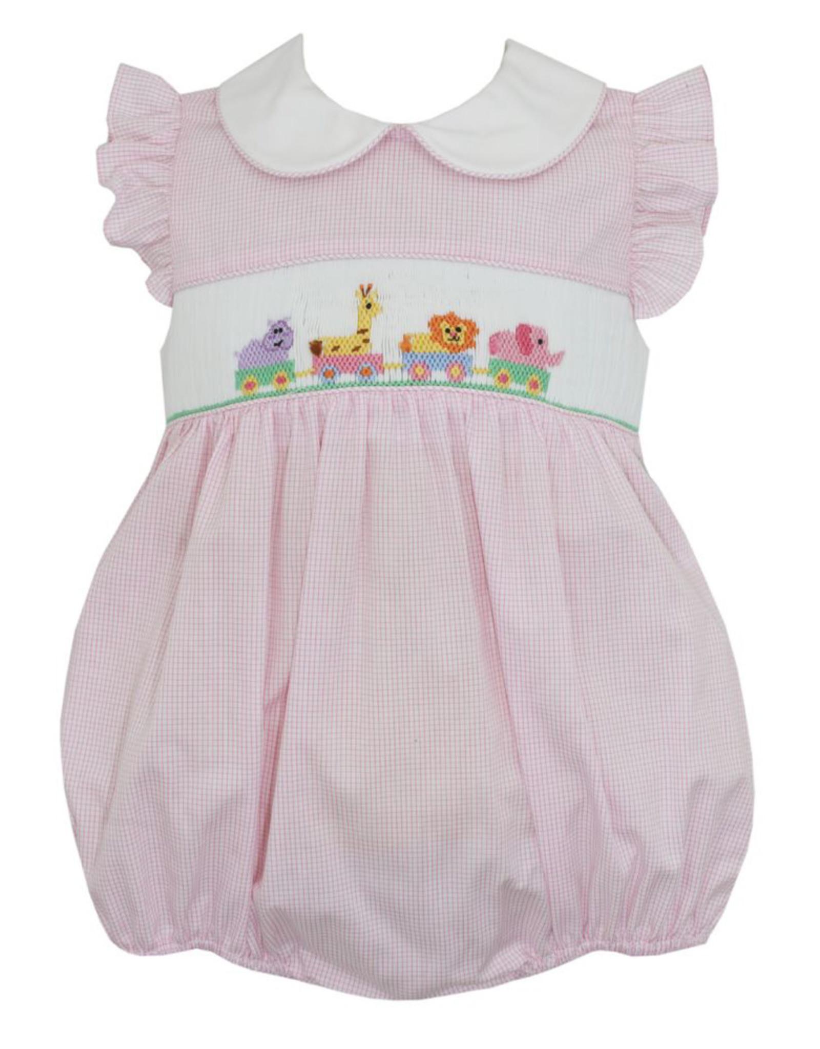 Anavini Pink Animal Parade Ruffle Sleeve Bubble