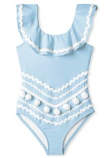 Stella Cove Blue Full Shoulder Swimsuit With Ric Rac