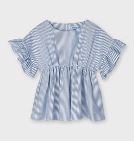 Mayoral Striped Blouse With Ruffle Sleeve