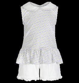 Lila and Hayes Daisies Sleeveless Peplum Top With White Ruffled Short