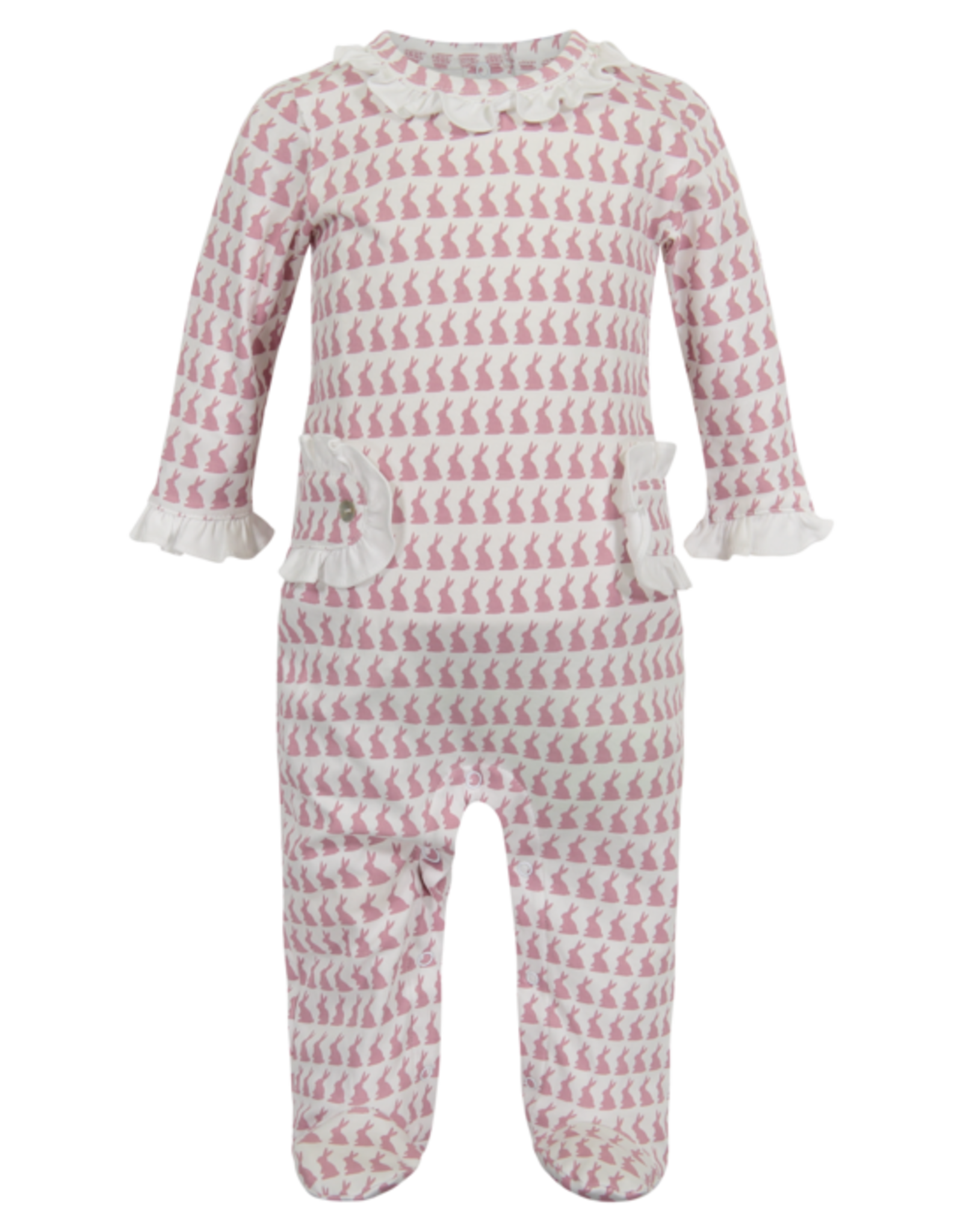 Lila and Hayes Lucy Bunny Love Pink Footed Romper