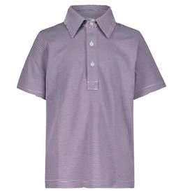 Lila and Hayes Griffin Purple And White Golf Polo