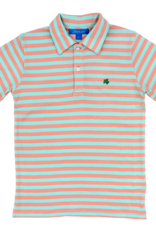 The Bailey Boys Coral And Mint Short Sleeve Stripe Polo